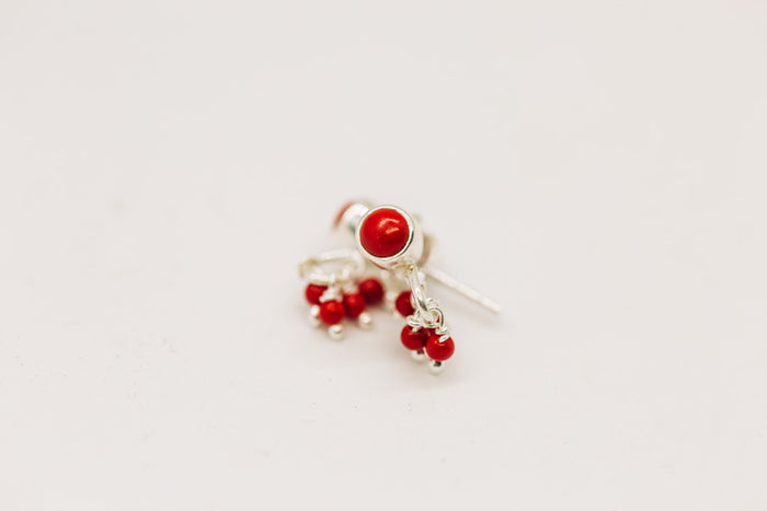 gemstone stud earrings with tiny drops