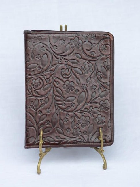 embossed leather journal with handmade cotton pages