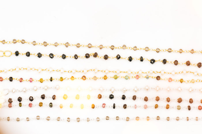 gemstone flapper-style rosary necklaces