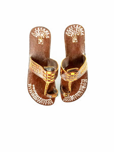 Three Plat Leather Sandal
