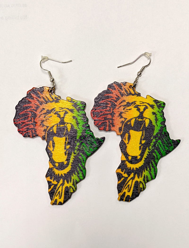 African Rasta Lion Earrings