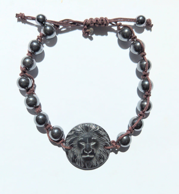Hematite Lion Face Wristband