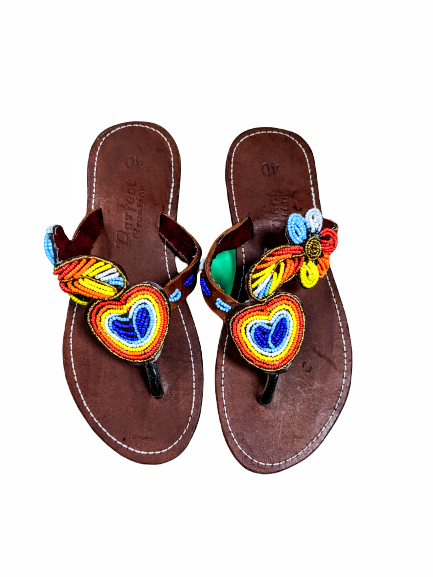 Leather Beaded Slippers