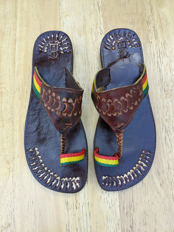 Leather Rasta Slippers