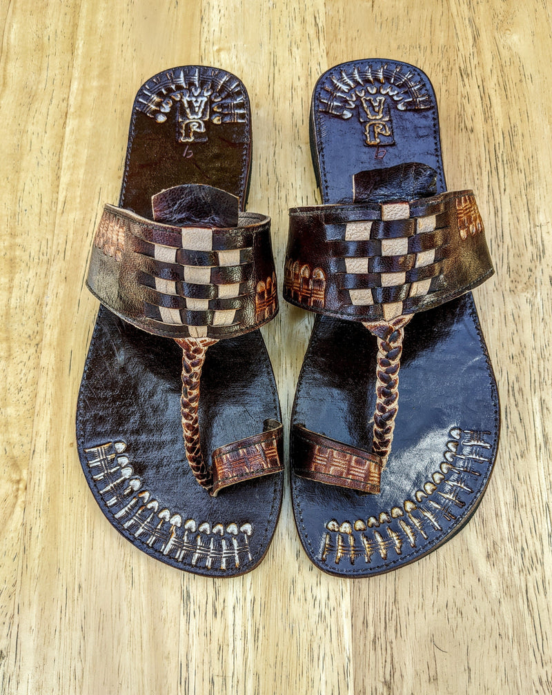 Leather Three Plat Slippers