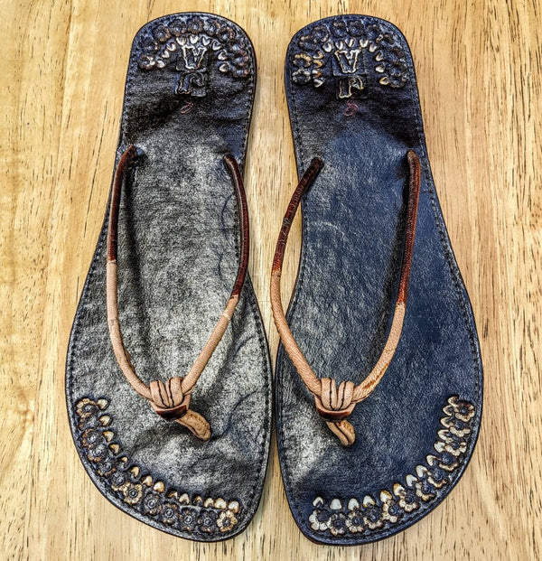 Leather  Two Strap Slippers