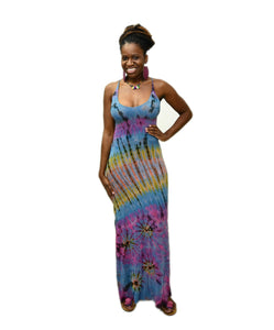 Zig tie dye maxi dress