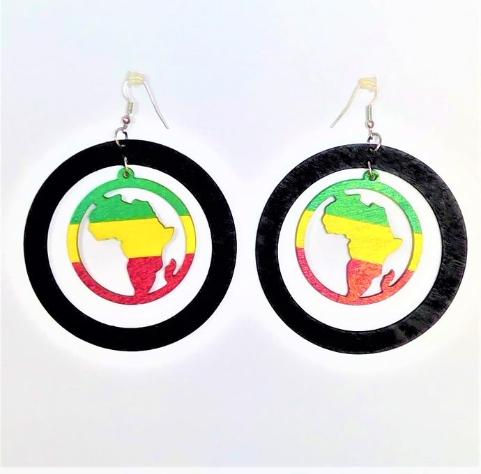 African Circle Rasta Earrings