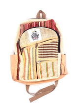 Load image into Gallery viewer, Red and Rasta Stripe Hemp Backpack