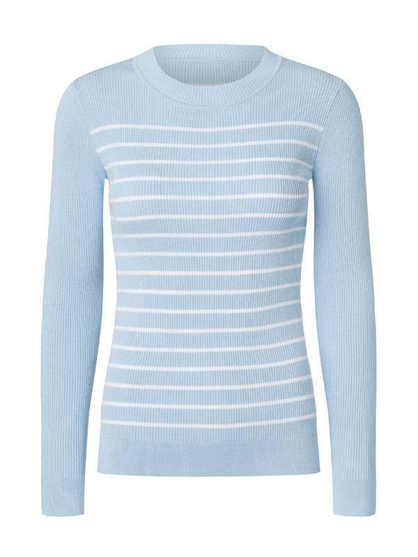 STORM & MARIE Nap O-neck Sweater 264 Light Blue w. White Stripes