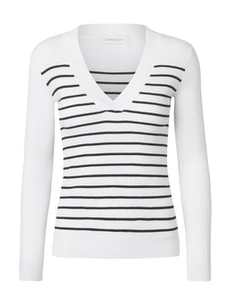 STORM & MARIE Nap V-neck V-neck 809 White w. Black Stripes