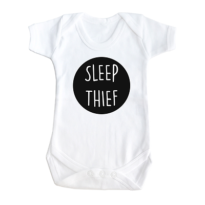 """ Sleep Thief "" Funny cute slogan baby vest Babygrow Bodysuit"