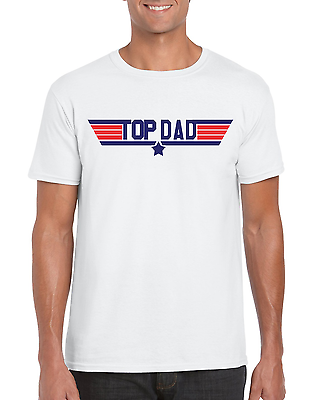 """Top Dad"" Top Gun 1980's Movie Inspired Fathers Day Gift T-Shirt S-2XL"