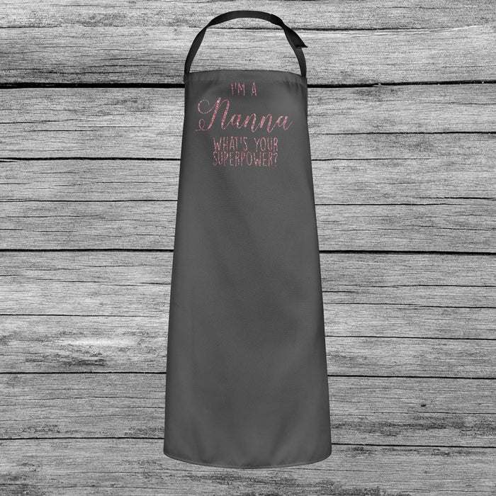 I'm a Nanna, What's Your Superpower? Mothers Day Apron Dusky Pink Glitter Gift