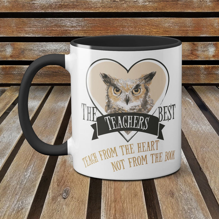 The Best Teachers, Teach from the Heart not the Book Funny Ceramic Mug Owl BEIGE