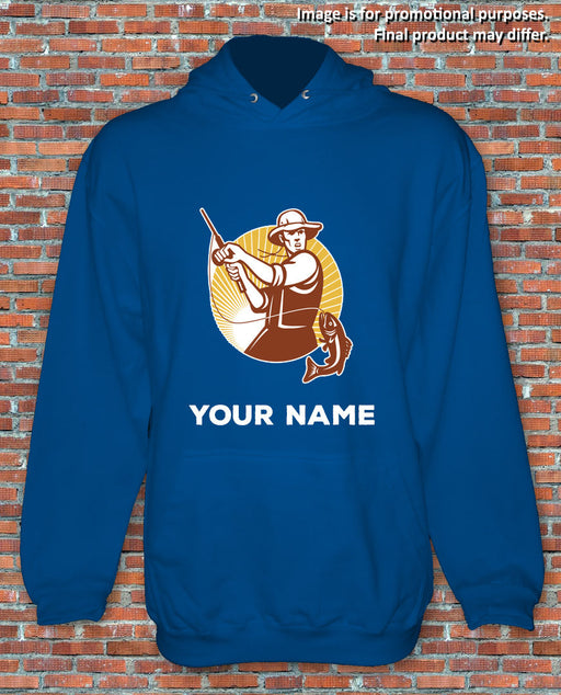 Fishing Hoodie Fisherman Personalised Gift Present Choose Your Own Name S-2XL