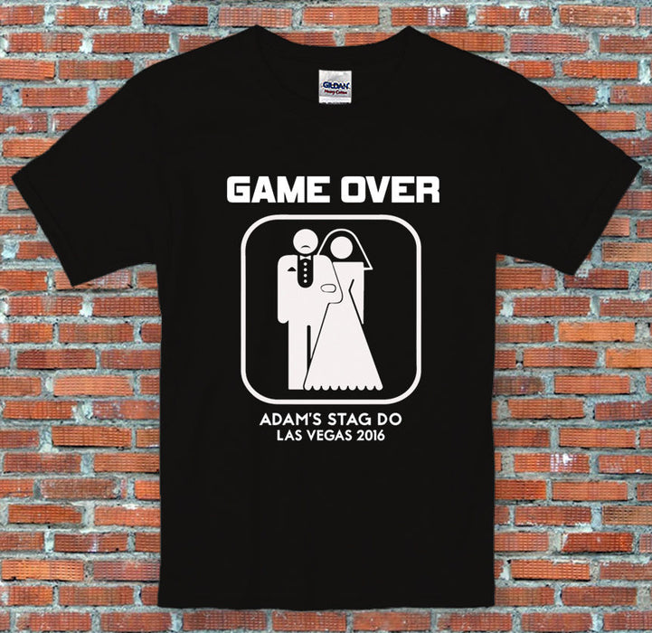 Stag Do Game Over Marriage Personalised Text Funny Sports Black T Shirt S-2XL