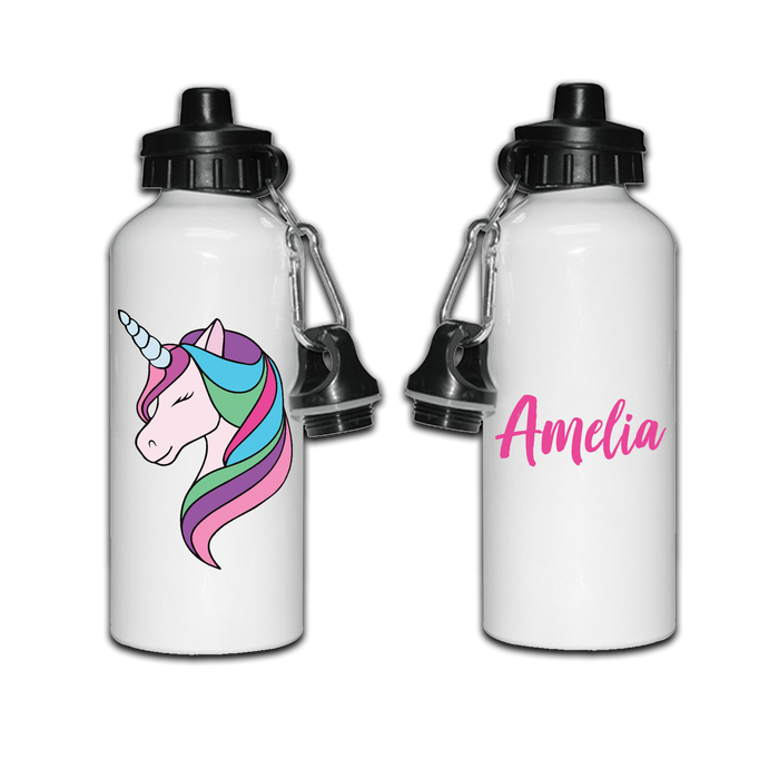Personalised Unicorn Sports Metal Drinks Water Bottle Back To School Lunches