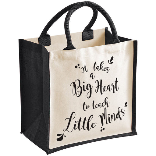 """It takes a big heart to teach little minds"" Teacher Gift Premium Jute Bag"
