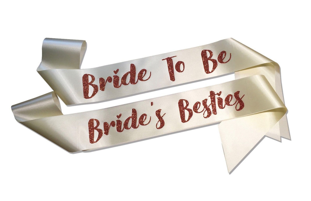 Premium Team Bride's Besties Married Engagement Party Sash Hen Do Copper Glitter