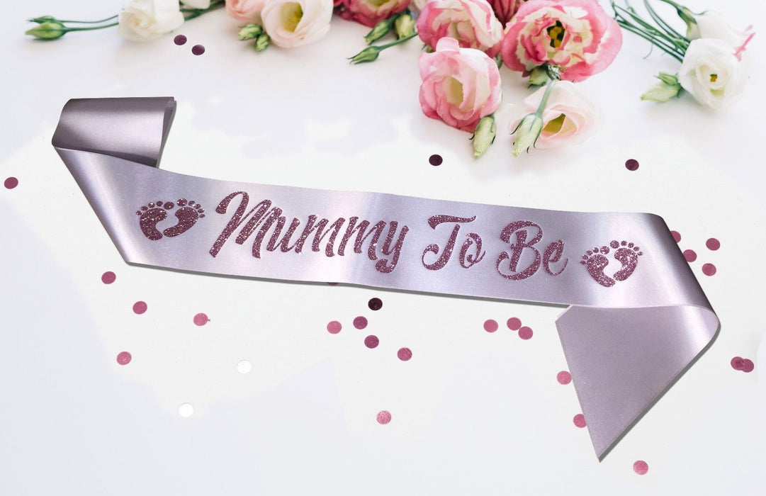 Premium Mummy To Be Satin Sash Little Girl Baby Shower Silver Pink Blush Glitter