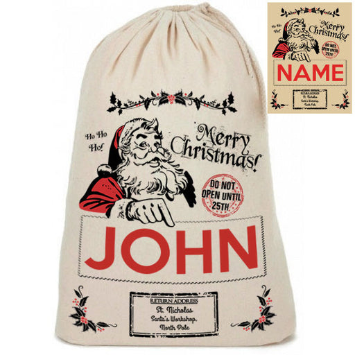 "Personalised Cotton Linen "" Merry Christmas "" Santa Christmas Present Sack"