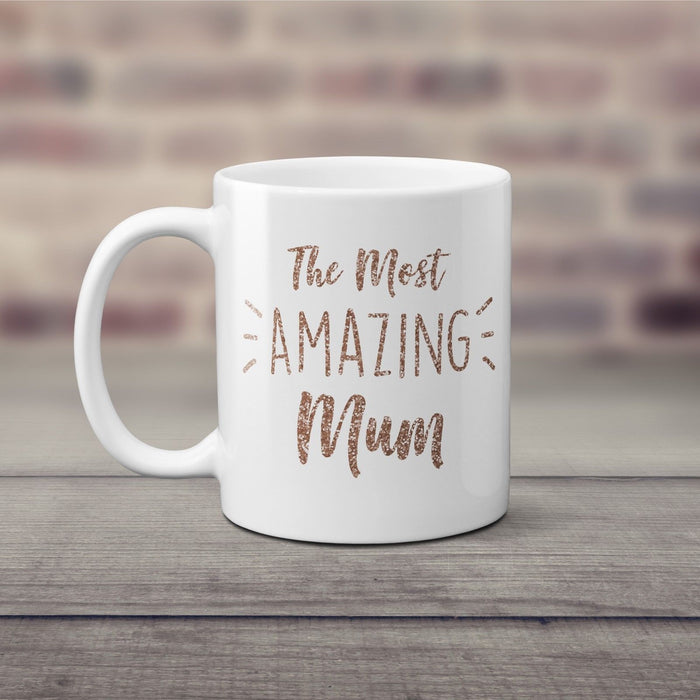 The Most Amazing Mum Mothers Day Baking Coffee Mug Cup Rose Gold Glitter Gift