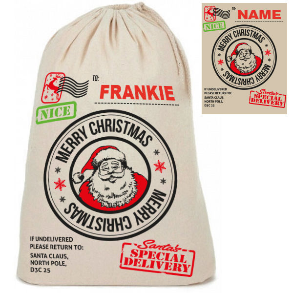 "Personalised Cotton ""Merry Christmas Air Mail"" Santa Christmas Sacks Sack"
