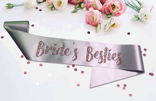Premium Bride's Besties Satin Married Engagement Party Sash Hen Do Pink Silver