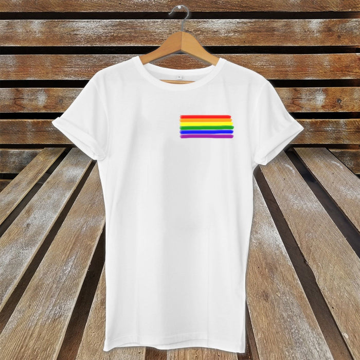 Pride Small Rainbow LGBT T-Shirt Top - Present Gift - Birthday Christmas - Gay