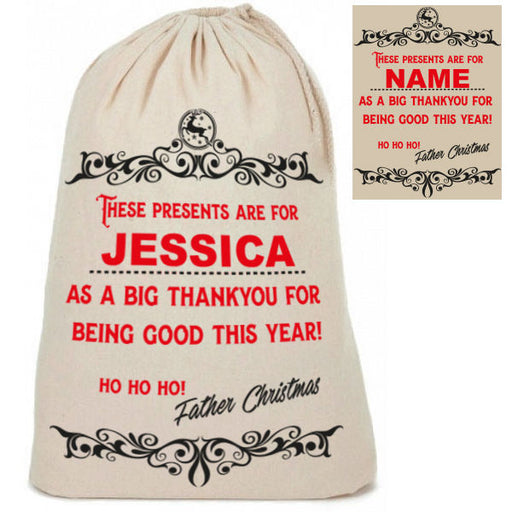 "Personalised Cotton ""Thankyou for Being Good"" Santa Christmas Present Sacks Sack"