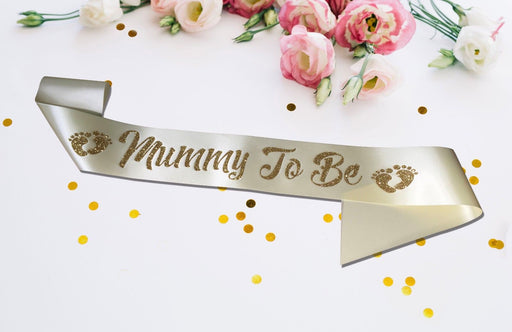 Premium Mummy To Be Satin Sash Little Baby Shower Gender Reveal Champagne Gold