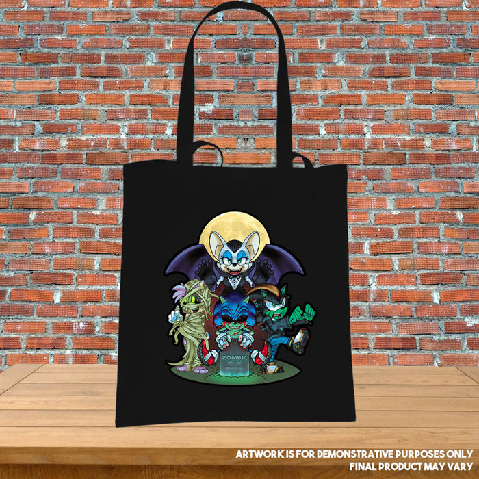 Printed Tote Bag Zombic the Deadhog Sonic Amy Shadow Rouge Inspired