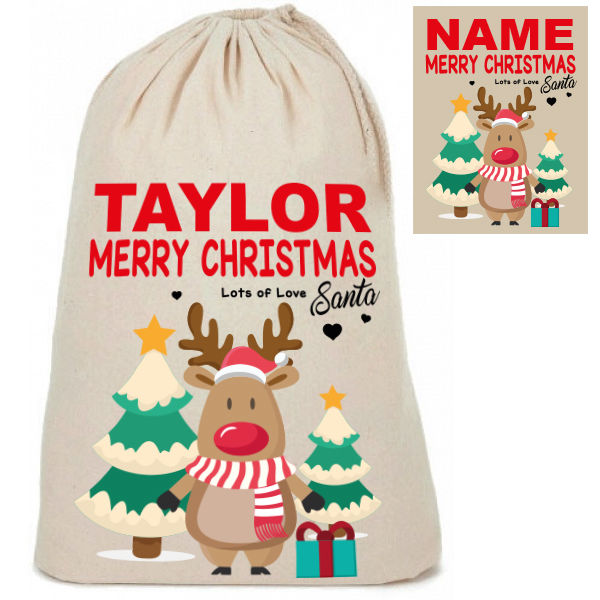 Personalised Cotton Cute Reindeer Design Santa Christmas Present Sacks Sack