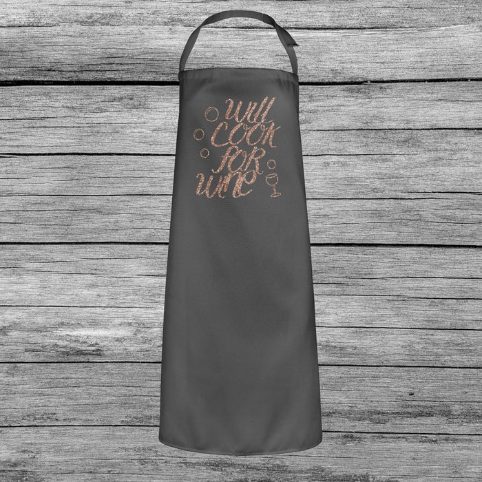 Will Cook For Wine Mothers Day Baking Cooking Apron Rose Gold Glitter Print Gift