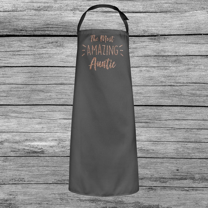The Most Amazing Auntie Baking Cooking Apron Cute Rose Gold Glitter Printed Gift