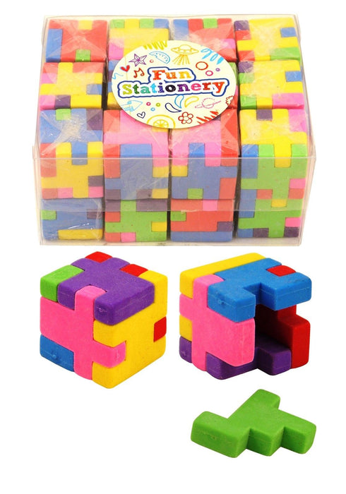 Novelty Multi Coloured Puzzle Cube Eraser Rubber Stationary Fun Great Party Bags