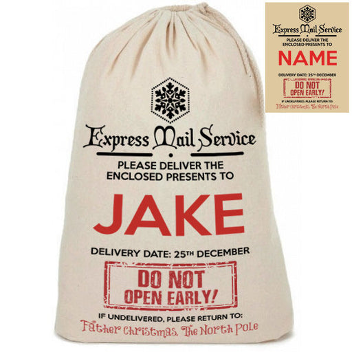 "Personalised Cotton Linen "" Express Mail Service "" Santa Christmas Present Sack"