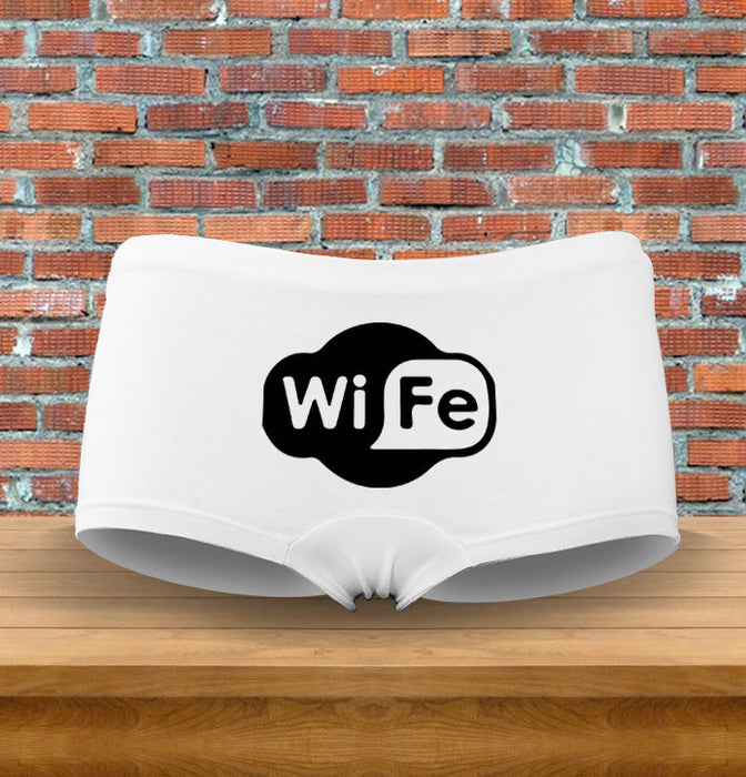 """Wi-Fe"" Funny Wi-Fi Nerdy Funny Gift Womens Underwear Panties"