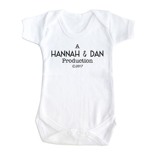 Personalised parent name baby film style production funny slogan baby grow vest