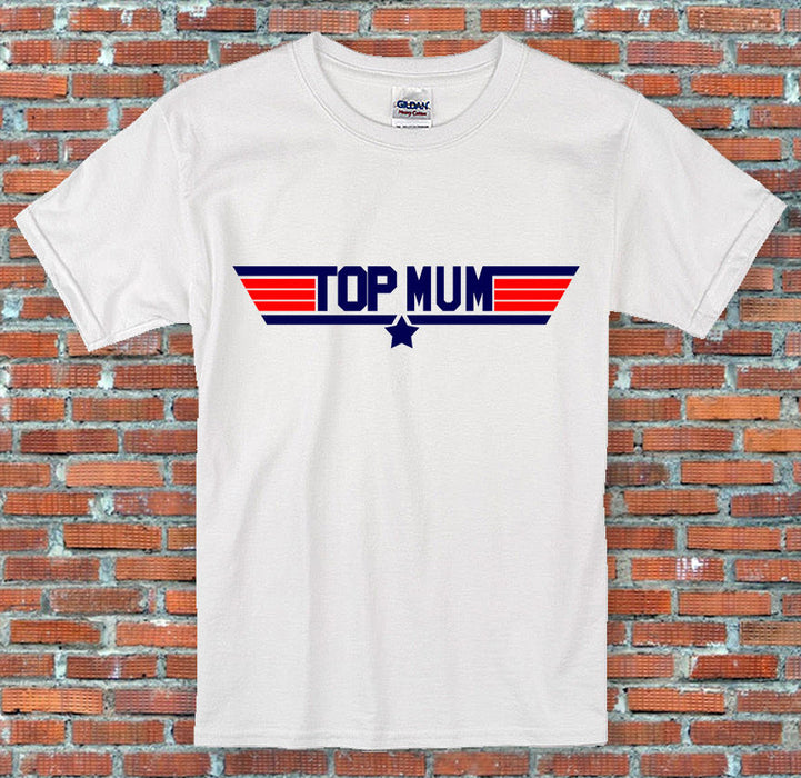 """Top Mum"" Top Gun 1980's Movie Inspired Mothers Day Gift T-Shirt S-2XL"