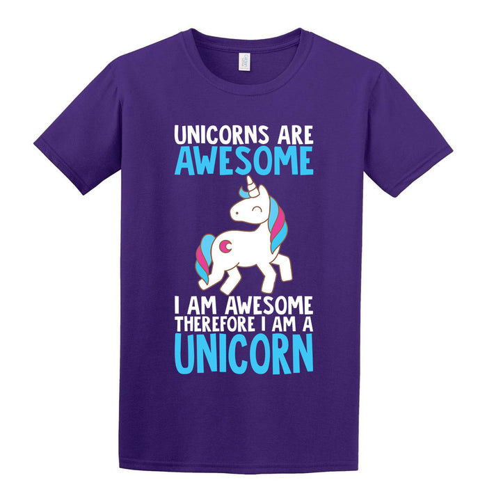 """Unicorns are Awesome"" Cute I am Awesome Printed Purple Tshirt"