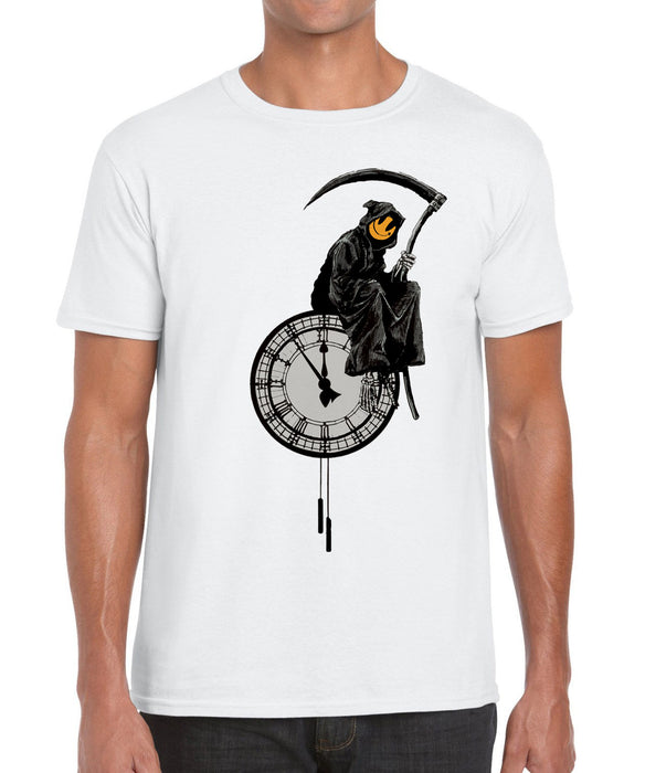 Banksy Reaper on the Clock Graffiti Modern Art Graphic T Shirt