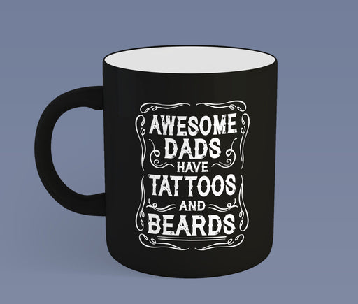 """ Awesome Dads..."" Tattoos Beards BLK Fathers Day Dad Gift Slogan Ceramic Mug"