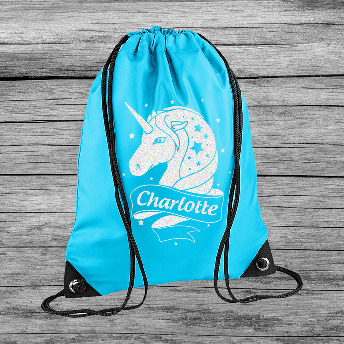 Personalised Unicorn Girl's Kid's Child Drawstring Bag Swimming Sports Bag