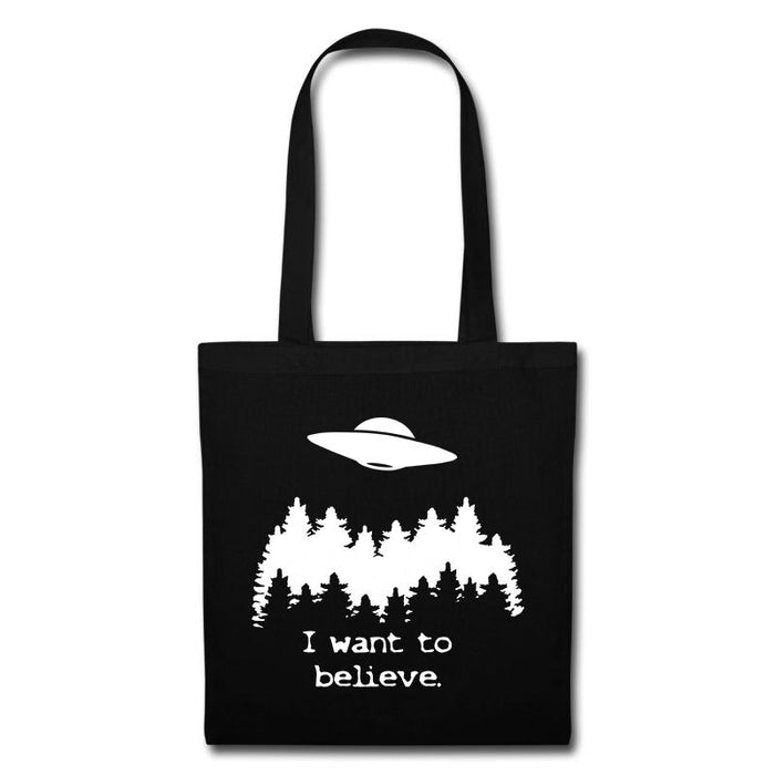 """I want to believe."" X Files TV Aliens UFO Inspired Tote Bag"