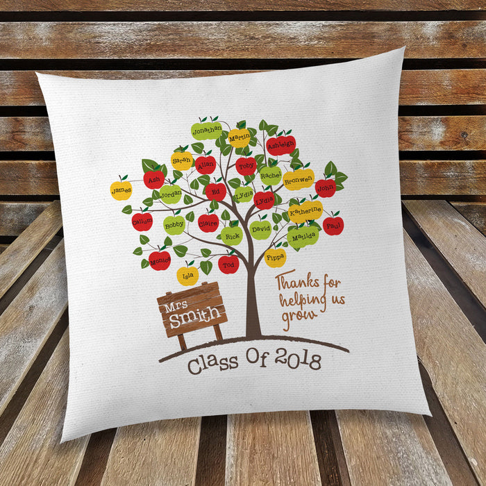 Apple Tree Personalised Teacher's Cushion Cover with Students Names Class of 18