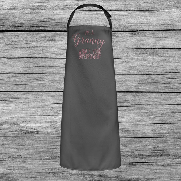 I'm a Granny, What's Your Superpower? Mothers Day Apron Dusky Pink Glitter Gift