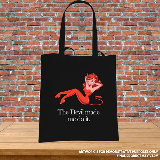 Printed Tote Abadon The Devil made me do it Supernatural Inspired