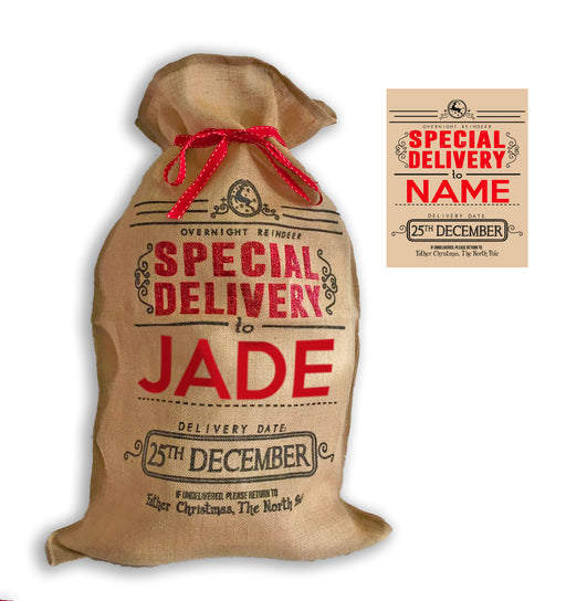 "XL Personalised Hessian "" Special Delivery "" Santa Christmas Present Sack"